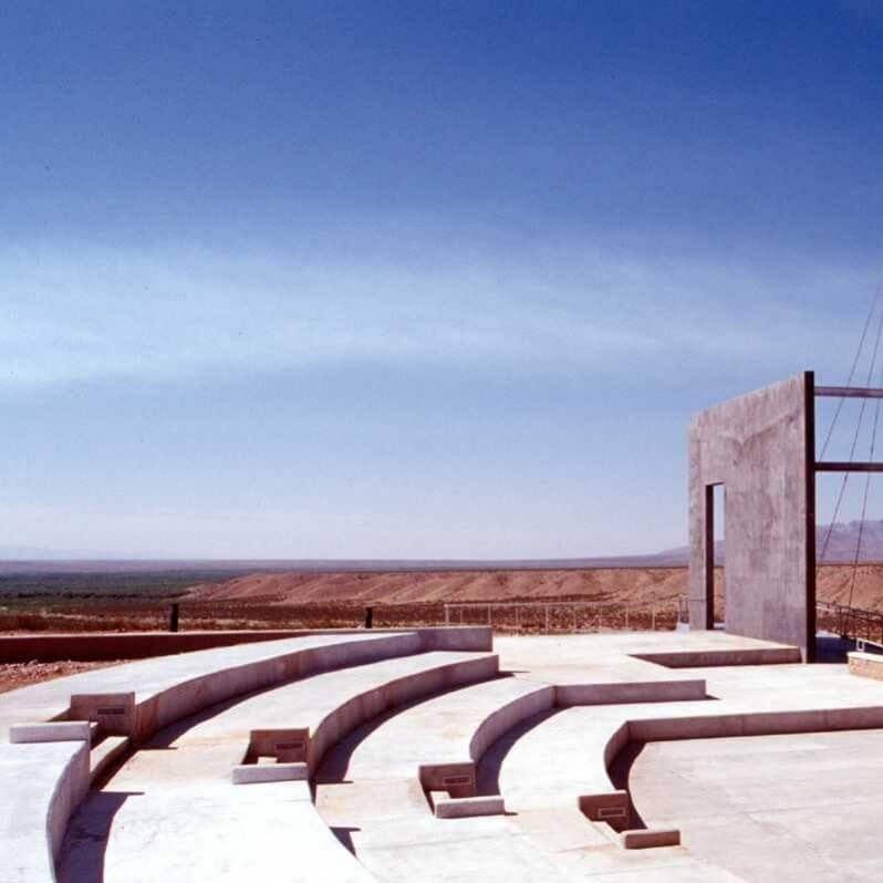 The outdoor ampitheater overlooks the Jornada del Muerto. It is used for demonstrations, theatrical presentations, group lectures, and other activities.<br><br><b>Photo by El Camino Real Historic Trail Site</b>