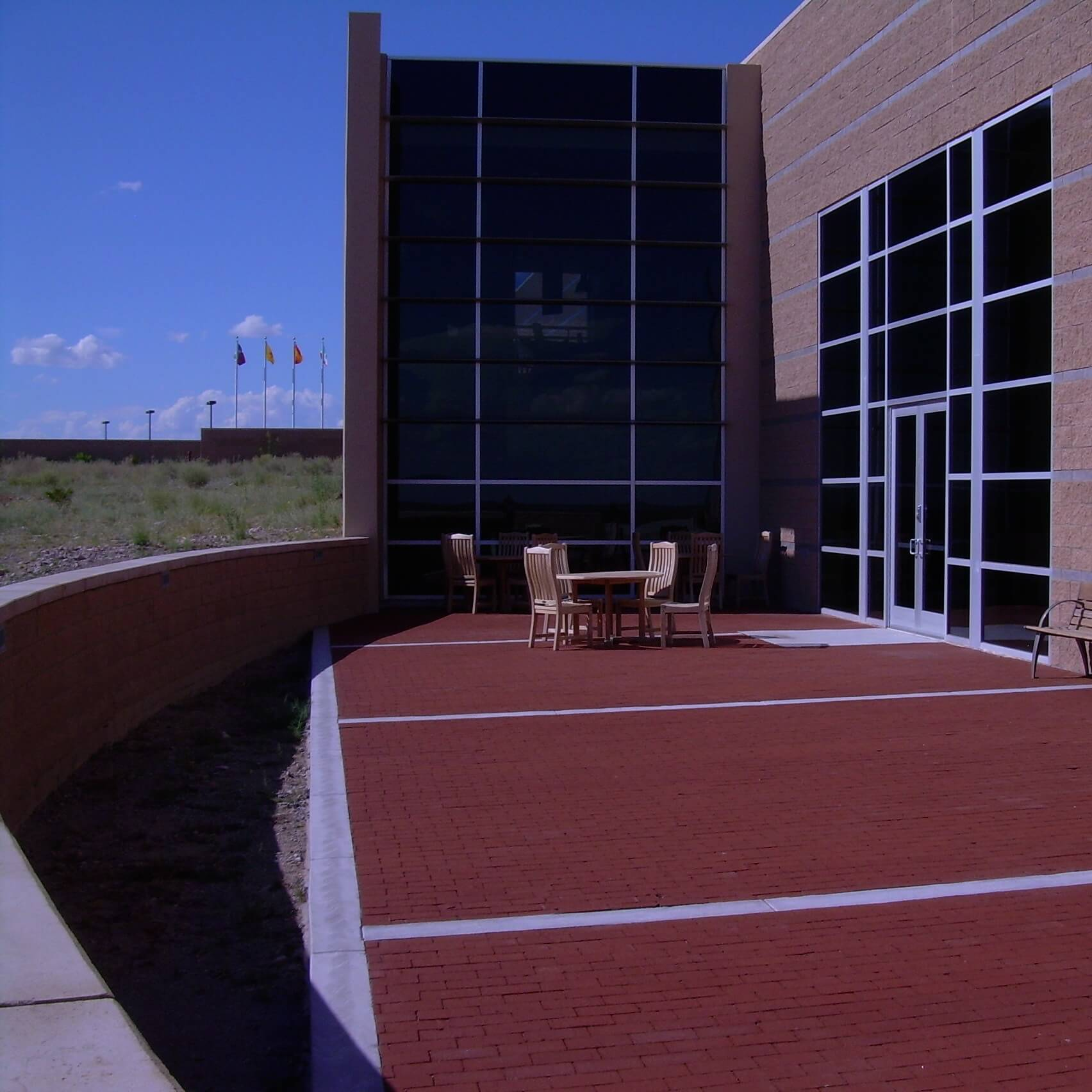 The red brick patio overlooks the Jornada del Muerto.<br><br><b>Photo by El Camino Real HTS</b>